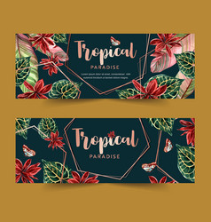 Banner design with classic wild tropical plants vector