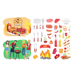 Bbq party time icon set poster vector