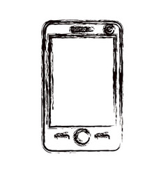 Blurred thick contour modern smartphone tech vector