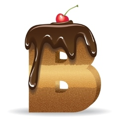 Cake letter B- birthday font vector