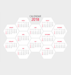 calendar 2018 template hexagon shape vector image