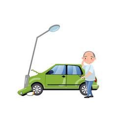 Car bumped at the lamp post man feeling shocked vector