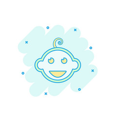 cartoon newborn baby face icon in comic style vector image
