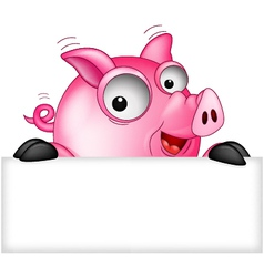 Cartoon pig with white space vector