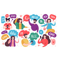 Chatting characters social networking people vector