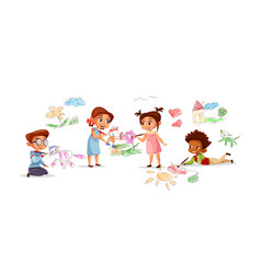 Children drawing pencil picture vector