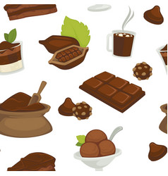 Chocolate products beans and powder in bags vector