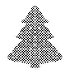Christmas tree isolated halftone design elements vector