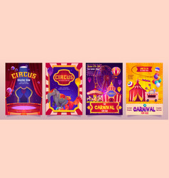 circus show banners big top tent carnival flyers vector image