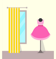 Clothing store dress and mirror vector