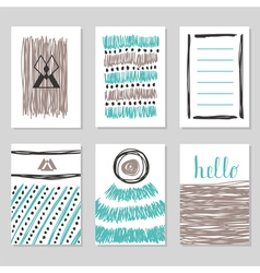 Collection of hand drawn cards and invitations vector