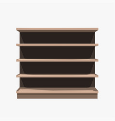 commercial empty brown shelf on white background vector image