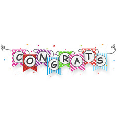 congratulations banner with bunting flags vector image