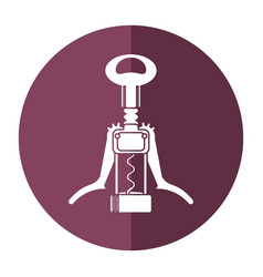 Cork screw winery tool shadow vector