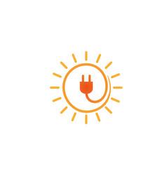 creative abstract solar plug logo design symbol vector image