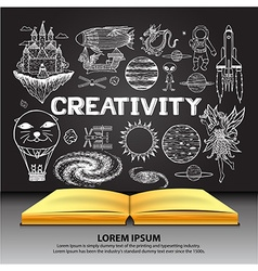 creativity on openned book vector image