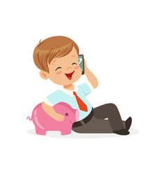 cute little boy businessman talking on smartphone vector image
