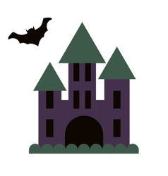 Dark gloomy castle and flying bat vector