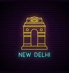 delhi gate neon sign light banner vector image