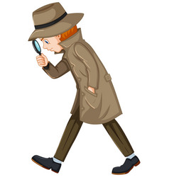 Detective looking for clues with magnifying glass vector