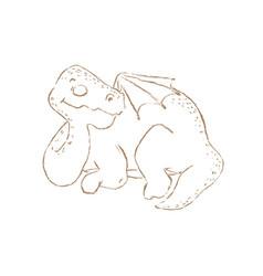 Dino sleep monochrome prehistoric hand drawn illus vector