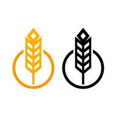 ear of wheat - set of icons round form in vector image