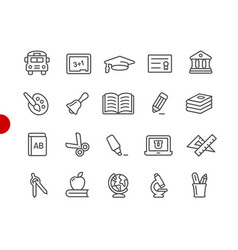 education icons red point series vector image