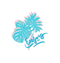 enjoy poster with tropical leaves vector image