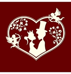 Fabulous silhouettes of the Prince and Princess vector