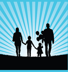 Family and happy children with balloon silhouette vector
