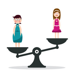 Fat and slim woman on scales girls on scale vector