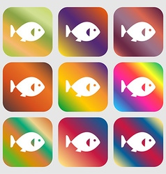 fish icon sign Nine buttons with bright gradients vector image