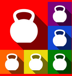 Fitness dumbbell sign set of icons with vector