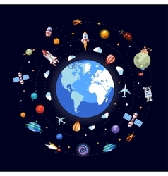 Flat design of Earth with space icons vector image