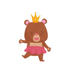 flat design of happy girl bear in pink vector image