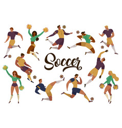 Football soccer players cheerleaders fans set of vector