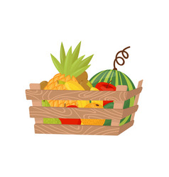 fresh ripe fruits in wooden crate healthy vector image