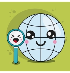 Global and lupe icon Kawaii and technology vector