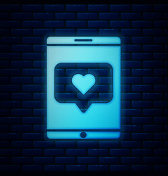 Glowing neon mobile phone and like with heart icon vector