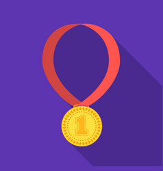 gold medal for equestrian sport icon in flat style vector image