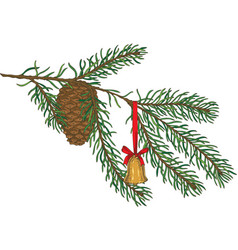 green fir branch with toy and pine cone vector image