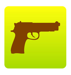 gun sign brown icon at green vector image