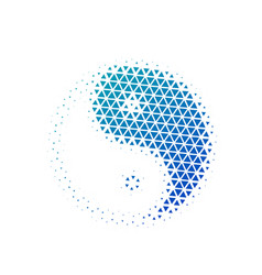 halftone triangles yin yang icon in blue gradient vector image