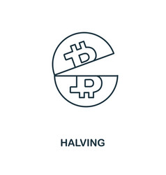 halving outline icon monochrome style design from vector image