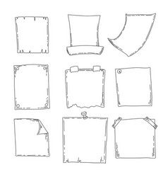 Hand drawn sheets of paper cartoon square vector