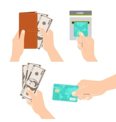 Hands holding money credit card and purse vector
