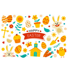 happy easter flat color elements design easter vector image
