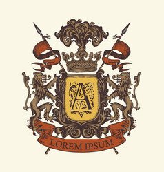 Heraldic coat arms in vintage style vector