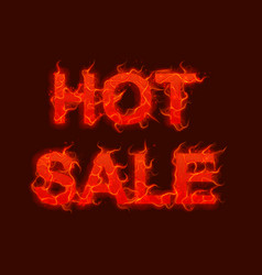 hot sale text with red fire flames vector image