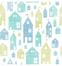 Houses blue green textile texture seamless pattern vector image